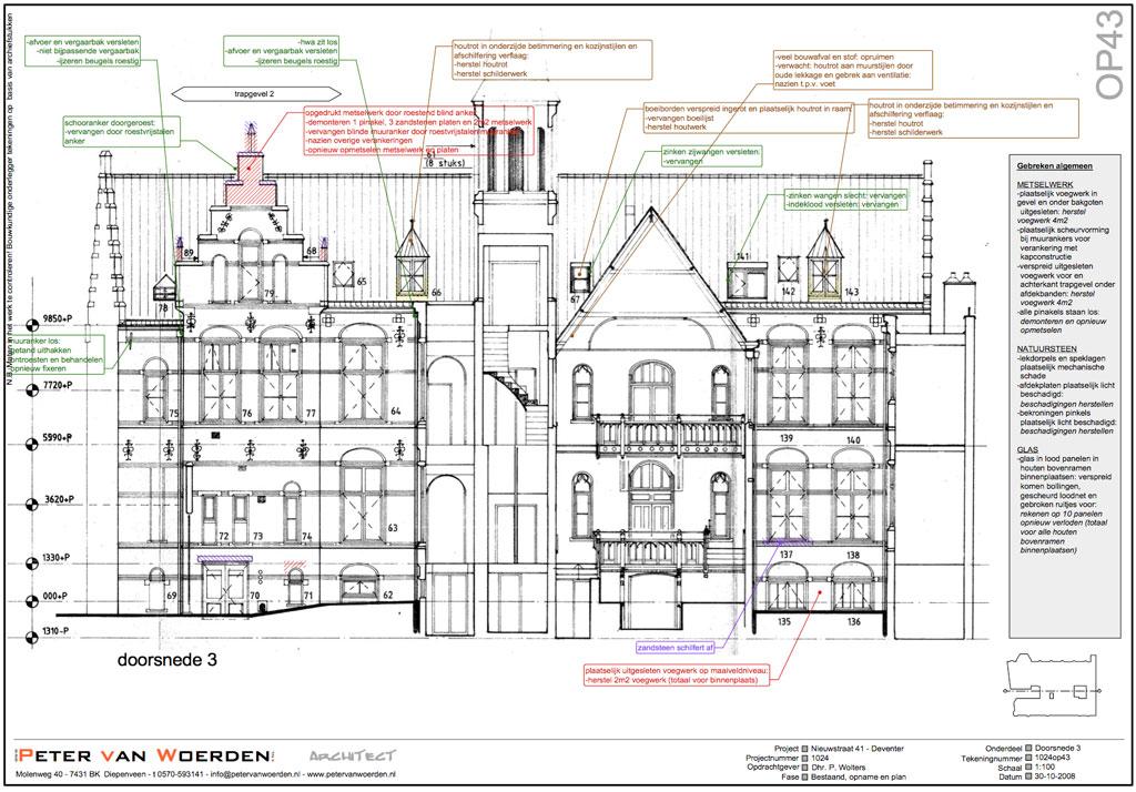 Deventer Nieuwstraat - Subsidieanvraag restauratie - Opnametekening