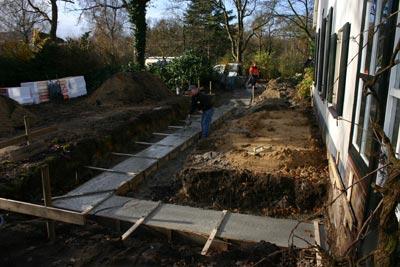 Diepenveen - Uitbreiding woning Molenweg- Fundering tijdens bouw