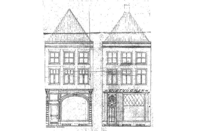 Deventer - Brink - Bouwhistorisch onderzoek - Tekening voorgevel