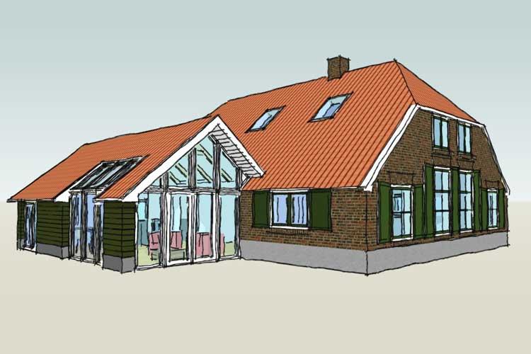 Uitbreiding van een woonboerderij - Visualisatie uitbreiding