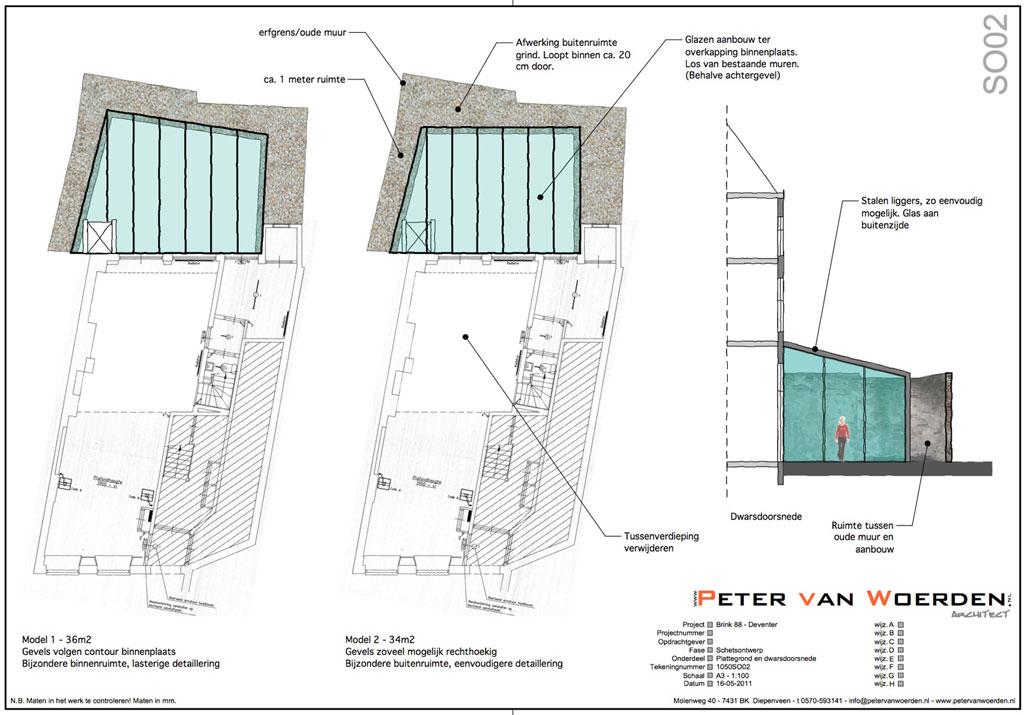 Deventer - Brink - Restauratie winkel - Ideeschets plattegrond