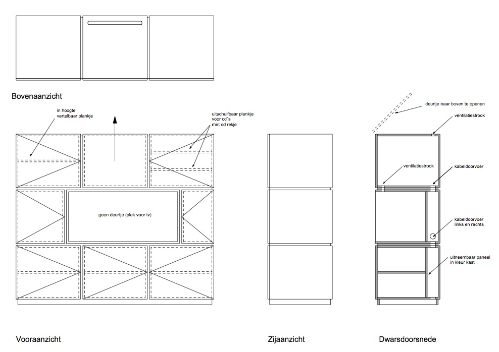 Peter van woerden architect tekening room divider for Architect interieur
