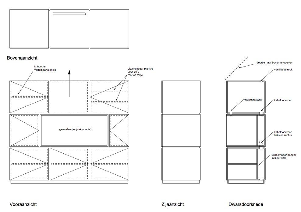 Tekening Room Divider - Peter van Woerden, architect - Interieur
