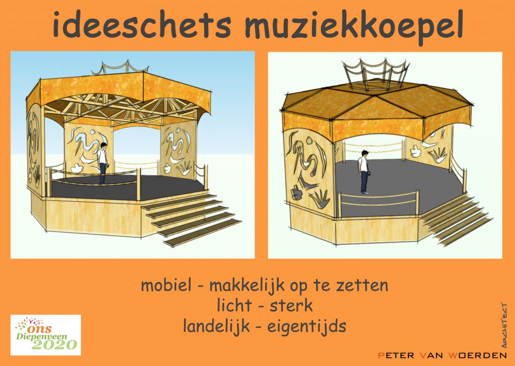 Diepenveen - Mobiele muziekkoepel - Schetsontwerp
