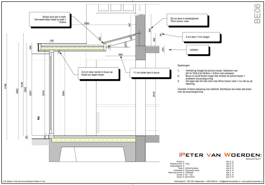 Diepenveen - Uitbreiding woning - Doorsnede tekening