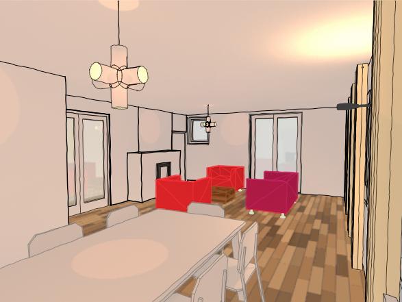 Uitbreiding woning boven slagerij - interieur perspectief