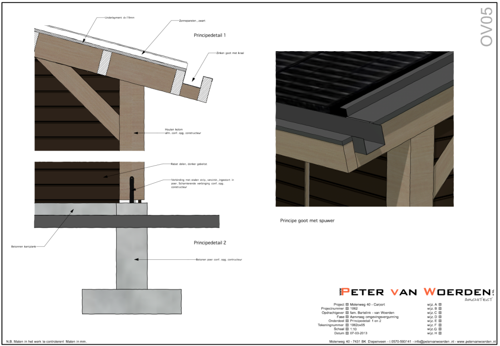 Peter van woerden architect carport en schuur met for Carport detail
