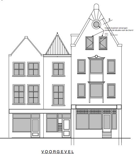 Herbouw panden Grote Overstraat Deventer - Geveltekening