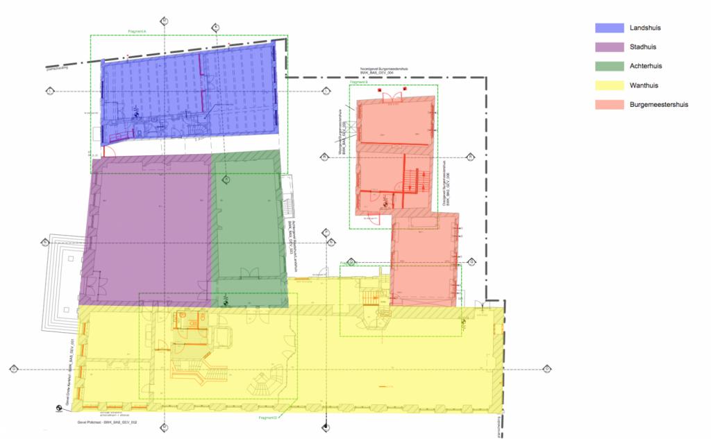 Stadhuis Deventer monumentale panden - plattegrond overzicht