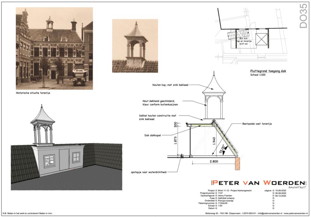 Restauratie en herbestemming Brink 11-12 - Reconstructie torentje